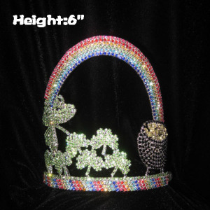 Crystal Clovers Pageant Crowns With Rainbow