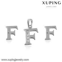 94056-jewelry großhandel sterling silber farbe alphabet f schmuck-set