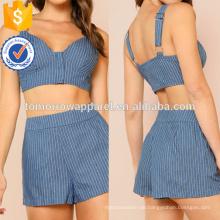 Gestreiftes Oberteil mit Reißverschluss mit passenden Shorts Set Herstellung Großhandel Mode Frauen Bekleidung (TA4087SS)