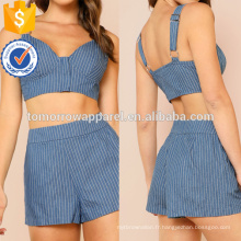 Rayé Zip Up Crop Top avec des shorts assortis ensemble de fabrication en gros de mode femmes vêtements (TA4087SS)
