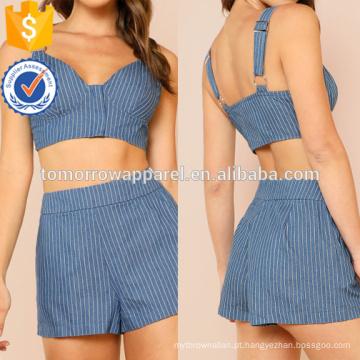 Listrado Zip Up Crop Top Com Correspondência Shorts Set Fabricação Atacado Moda Feminina Vestuário (TA4087SS)