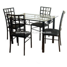 Glass Top Dining Table And 4 Chairs Set