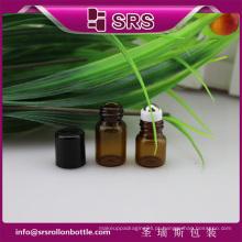 SRS nenhum vazamento vazio rolo de vidro no frasco, âmbar cor 1ml 2ml frascos de rolo de perfume para óleos