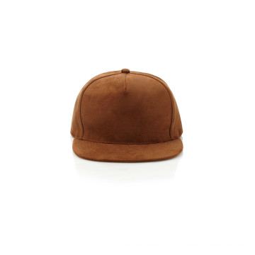 Blank Suede Snapback Hat with Leather Strap