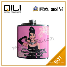 18/8 304 FDA and LFGB high quality stainless steel pink hip flask