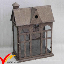 Vintage Style French Distressed Metal Lantern Candle Holders