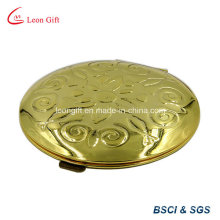Round Etched Gold Cosmetic Mirror