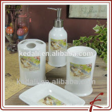 Stoneware Ceramic Bathroom Accessories 4pcs For Home