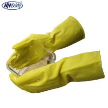 NMSAFETY longo cuff household luvas de borracha látex amarelo para uso de lavagem