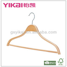 Laminated wooden shirt hanger with notches and trousers bar