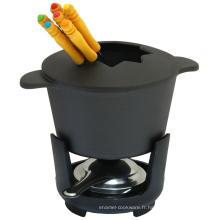 Ensemble à fondue émaillée avec un pot à fromage et au chocolat Amazone