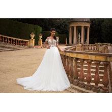 Vestido de noiva de manga curta beading vestido de noiva