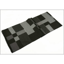 Men′s Reversible Cashmere Like Winter Warm Checked Diamond Printing Thick Knitted Woven Scarf (SP808)