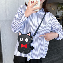 Mini Bolsa Cat Sacos de couro cartoon patch bordado