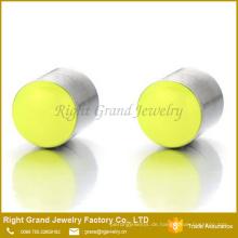 7mm magnetische Neongelb nicht Piercing Clip auf Stahl Cheater Fake Ohrstöpsel