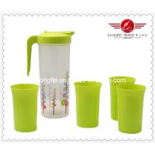 Свободный пластиковый кувшин BPA с набором чашек (LFR10754)