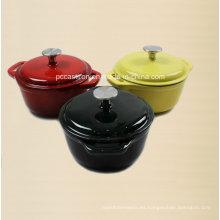 Utensilios de cocina de hierro fundido de esmalte 3PCS para cazuela de tres tamaños