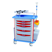 Hospital Furniture Medical Cart ABS Emergency Trolley
