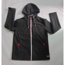 Yj-1065 Black Polar Fleece Waterproof Breathable Mens Softshell Jacket with Hood