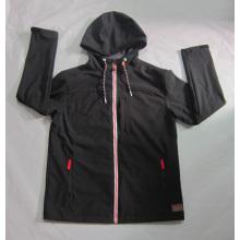Yj-1065 Black Polar Fleece imperméable à l'eau imperméable à l'homme Veste Softshell avec capuche