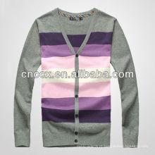 Padrão de camisola cardigan listrado de malha masculina 12STC0563