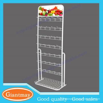 De múltiples capas de colgar el gancho de los elementos del estante de supermercado de metal de pie para la semilla