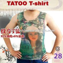 2016 stilvolles Mesh-ärmelloses Tattoo-Print-T-Shirt