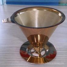 Premium wiederverwendbares titanbeschichtetes Gold waschbar über den Kaffeetropfer / Roségold-Kaffeetropfer