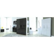 Conjuntos de armário com roupeiros de 3 portas com alto brilho com 3 peças