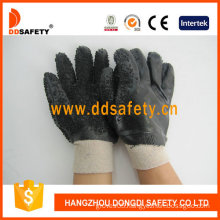 Black PVC Safety Gloves, Rough Finished Only on Palm (DPV117)