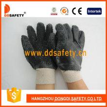Черные перчатки безопасности PVC, грубой закончил только на ладони (DPV117)