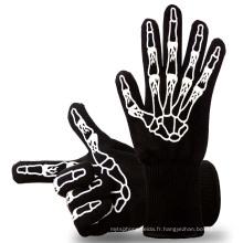 TE09 OEM a accepté les gants résistants à la chaleur de BBQ de four de couleur verte pour la cuisson, la cuisson, la cuisson au four
