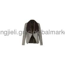 Grey Faux Fur Collar Waterfall Jacket