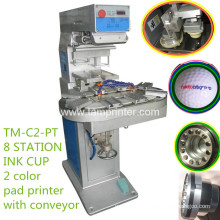 TM-C2-P Two Color Ink Cup Pad Printer with Conveyor