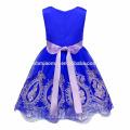 2017 nueva moda barato color puro bordado tul 8 años vestido de niña diseño