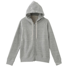 Gray Sleevel Hoodie aus Fleece mit Custom Logo Front Zipper
