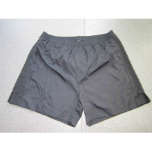 Yj-3017 Mens Black Polyester and Knit Gym Athletic Shorts Pants