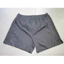 Yj-3017 Mens Preto Poliéster e Knit Gym Athletic Shorts Calças