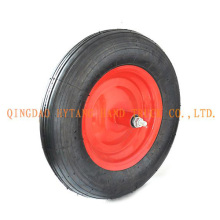 strait line pattern rubber wheel,steel rim with axle.