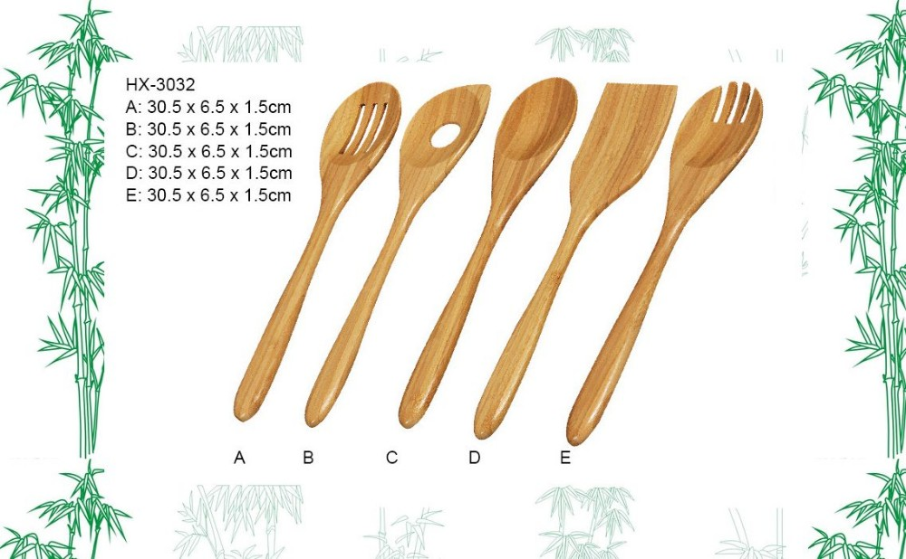 5pcs bamboo utensil set