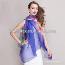 Tecido de voile liso com faixa de chumbo / tecido de organza impresso flor / tecido leve de algodão voile