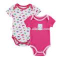 2017 wholesale 2 pcs set organic cotton material bodysuit jumpsuits infant baby girl romper