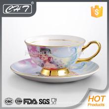 Elegante keramische Teetasse und Untertasse Großhandel