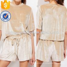 Patch Pocket Vorder Samt T-Shirt und Shorts Set Herstellung Großhandel Mode Frauen Bekleidung (TA4074SS)
