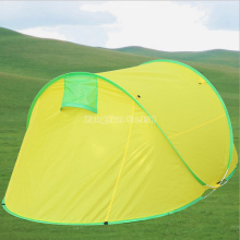 2 Person Yellow Tent, Breathable Anti-Mosquito Artificial Build-up Two-Door Tents