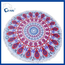 100% Cotton Pink Peacock Round Beach Towel (QHSD5546)