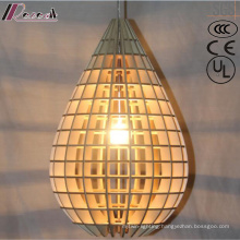 Simple Water Drop Wood Hollow Pendant Lighting with Bedroom