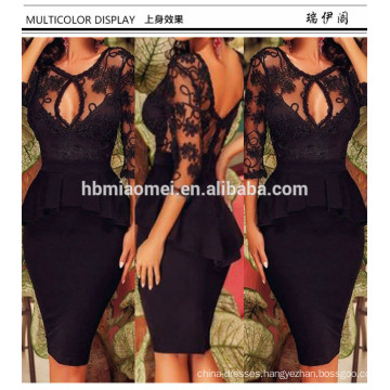 Womens Long Sleeve Cocktail Slim Mini Club Wear Dress Black Lace V Neck Backless Pencil Midi Bodycon Sexy Evening Dress Women