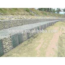 Engranzamento de fio sextavado galvanizado ou do PVC, rede para bancos de rio ou proteção da parede