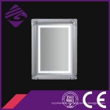 Rectángulo montado en la pared arte espejo de baño enmarcado con LED
